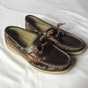 WOMEN'S DARK BROWN SPERRY BOAT SHOES SIZE 8